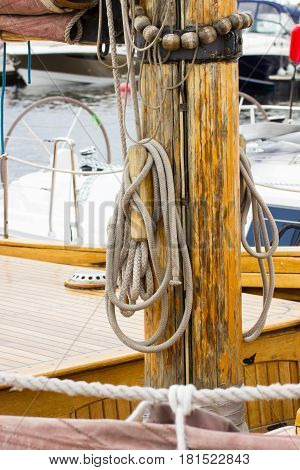 Yachting, Parts Of Old Wooden Sailboat In Port Of Sailing
