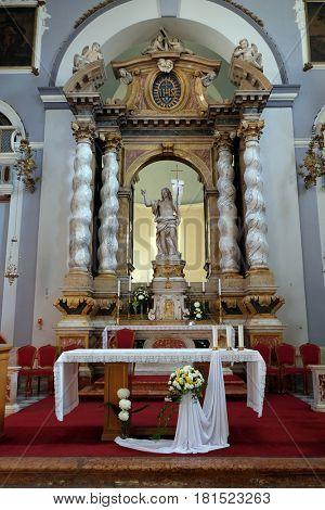 DUBROVNIK, CROATIA - NOVEMBER 07: Risen Christ, altar in Franciscan church of the Friars Minor in Dubrovnik, Croatia on November 07, 2016.