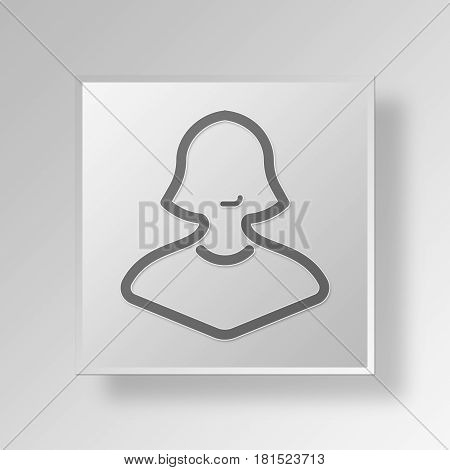 3D Symbol Gray Square Business Woman icon Business Concept