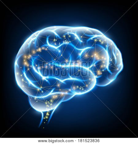 Glowing human brain with nerve cells. Stock vector illustration.