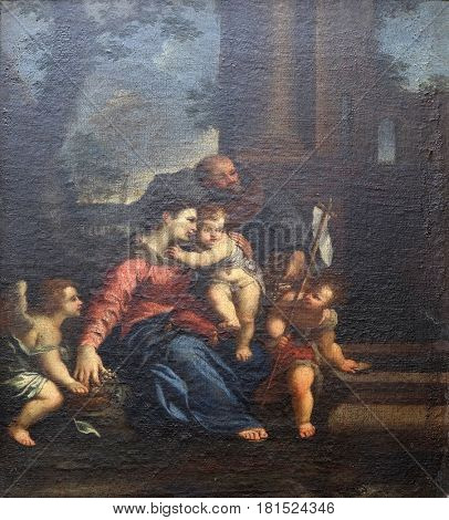 DUBROVNIK, CROATIA - NOVEMBER 08: The Holy Family with St John the Baptist by the unknown Italian master the end of the 16th century in the convent of the Friars Minor in Dubrovnik, November 08, 2016.