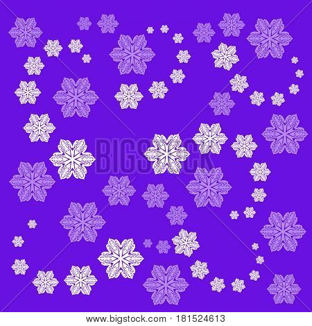Snowstorm. Beautiful pattern with snowflakes on lilac background. Print for fabric