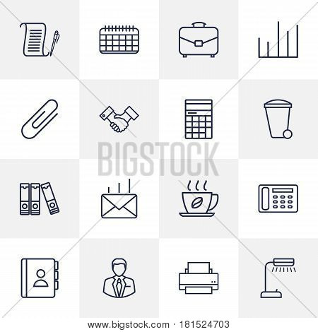 Set Of 16 Bureau Outline Icons Set.Collection Of Chart, Fastener Paper, Reading-Lamp And Other Elements.