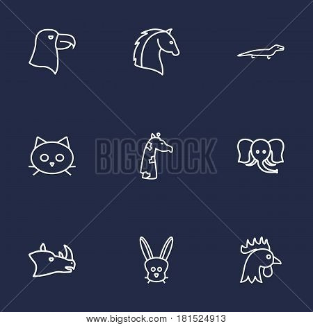 Set Of 9 Brute Outline Icons Set.Collection Of Horse, Eagle, Giraffe And Other Elements.