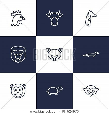 Set Of 9 Beast Outline Icons Set.Collection Of Cock, Owl, Pig And Other Elements.