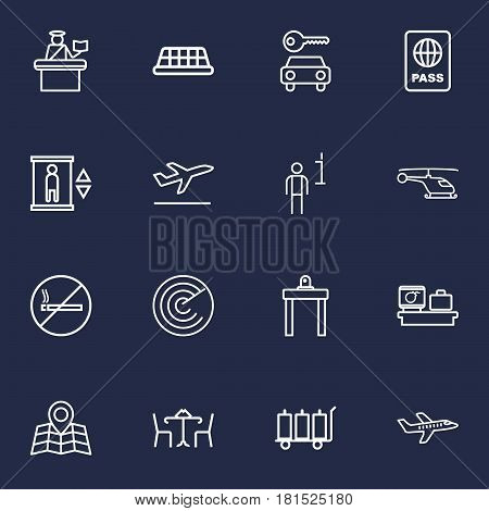 Set Of 16 Aircraft Outline Icons Set.Collection Of Taxi, Plane, Cafe And Other Elements.