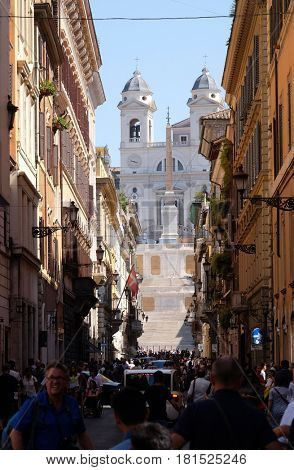 ROME, ITALY - SEPTEMBER 04: Trinita dei Monti Church, Piazza di Spagna in Rome, Italy on September 04, 2016.