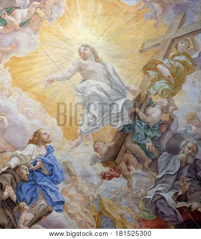 ROME, ITALY - SEPTEMBER 04: The ceiling fresco (Triumph of Franciscans order - Trionfo dell'Ordine) by Domenico Maria Muratori in church dei Santi XII Apostoli in Rome, Italy on September 04, 2016.