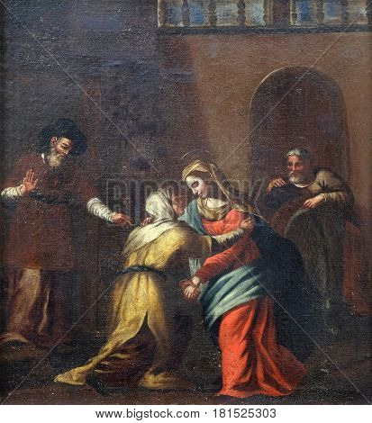 DUBROVNIK, CROATIA - NOVEMBER 08: Meeting Mary with Elisabeth by the unknown Italian master from 16th century in the convent of the Friars Minor in Dubrovnik, November 08, 2016.