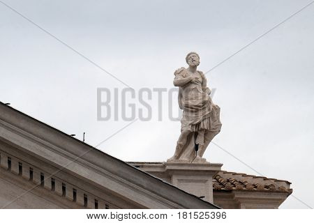 ROME, ITALY - SEPTEMBER 05: St. Gallicanus, fragment of colonnade of St. Peters Basilica. Papal Basilica of St. Peter in Vatican, Rome, Italy on September 05, 2016.