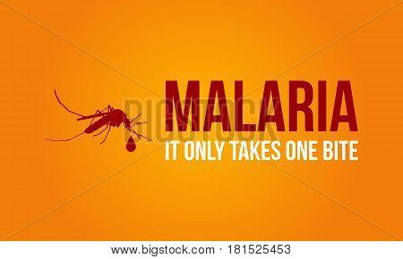 Malaria on orange background style vector illustration
