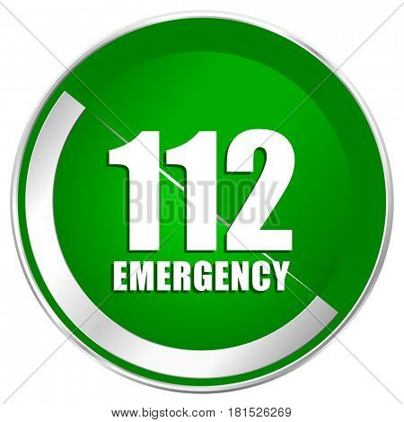 Number emergency 112 silver metallic border green web icon for mobile apps and internet.