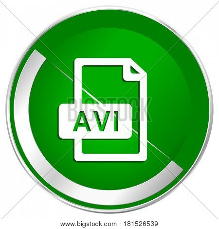 Avi file silver metallic border green web icon for mobile apps and internet.