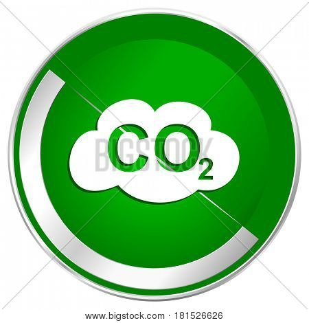 Carbon dioxide silver metallic border green web icon for mobile apps and internet.