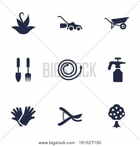Set Of 9 Household Icons Set.Collection Of Pruner, Garden, Spray Bootle And Other Elements.