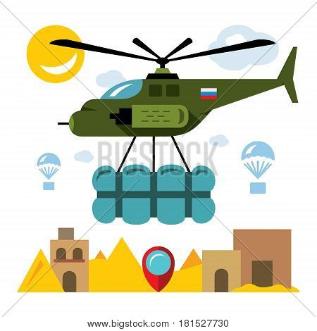 Combat helicopter with cargo in the desert. Isolated on a white background