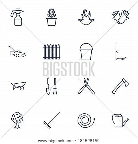 Set Of 16 Horticulture Outline Icons Set.Collection Of Herb, Hatchet, Palisade And Other Elements.