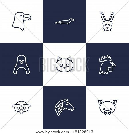 Set Of 9 Beast Outline Icons Set.Collection Of Penguin, Eagle, Cock And Other Elements.