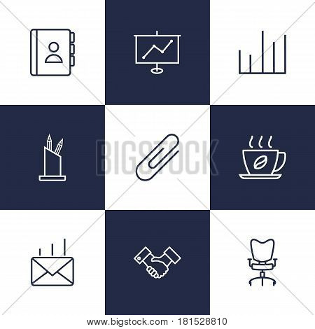 Set Of 9 Service Outline Icons Set.Collection Of Post, Hot Drink, Telephone Directory And Other Elements.