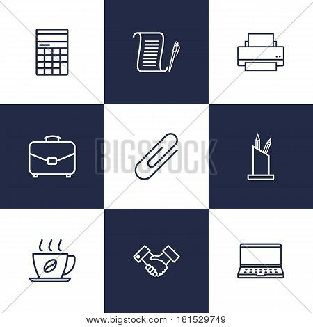 Set Of 9 Bureau Outline Icons Set.Collection Of Agreement, Fastener Paper, Partnership And Other Elements.