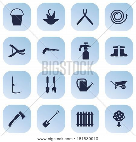 Set Of 16 Farm Icons Set.Collection Of Spray Bootle, Watering Can, Hacksaw And Other Elements.