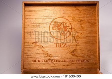 Thailand. April 09 2017 : An old cigar box. a wooden case of TIPZ's cigar of Holland. Vintage wooden cigar box of Holland. 09 April 2017.