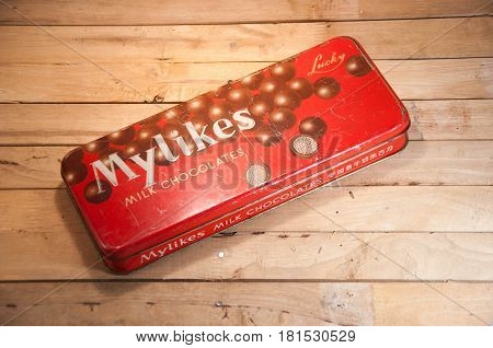 Thailand. April 09 2017 : An old case of chocolate candy. vintage streel case of Mylikes chocolate milk candy Brand of China.