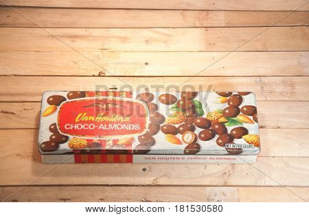 Thailand. April 09 2017 : An old case of chocolate candy. vintage streel case of Van Houten's chocolate almonds candy.