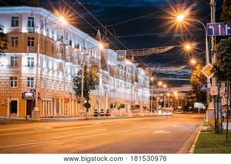 Gomel, Belarus - 19 August, 2016: Lenin's Night Prophecy with Illuminations