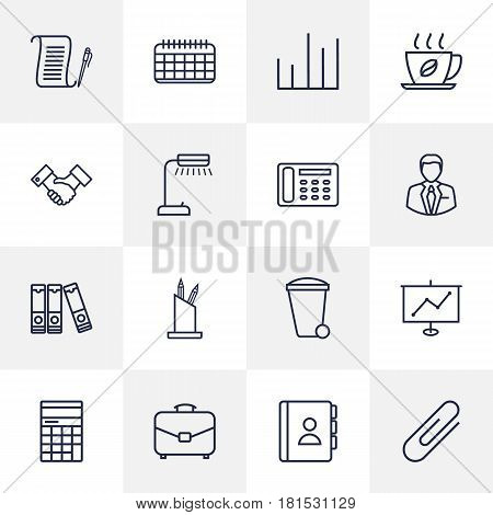 Set Of 16 Bureau Outline Icons Set.Collection Of Telephone Directory, Fastener Paper, Date And Other Elements.