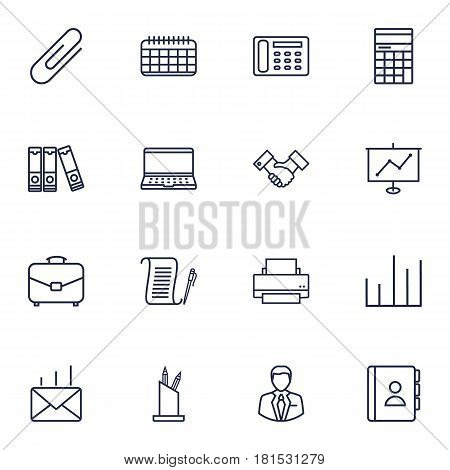 Set Of 16 Work Outline Icons Set.Collection Of Show, Telephone Directory, Document Case And Other Elements.