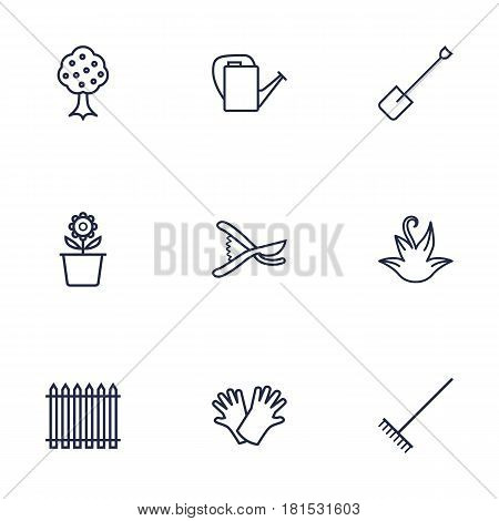 Set Of 9 Horticulture Outline Icons Set.Collection Of Palisade, Safer Of Hand , Bailer Elements.