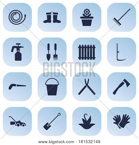 Set Of 16 Household Icons Set.Collection Of Cutter, Lawn Mower, Scissors And Other Elements.