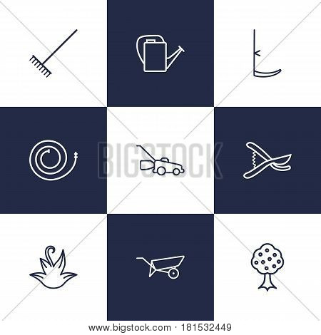 Set Of 9 Horticulture Outline Icons Set.Collection Of Garden, Grass-Cutter, Barrow And Other Elements.