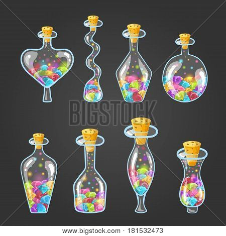 Big set of bottle elixir with gems. Game design