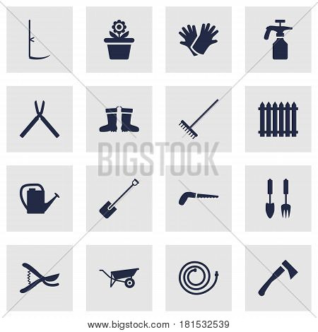 Set Of 16 Household Icons Set.Collection Of Hacksaw, Fence, Pruner And Other Elements.