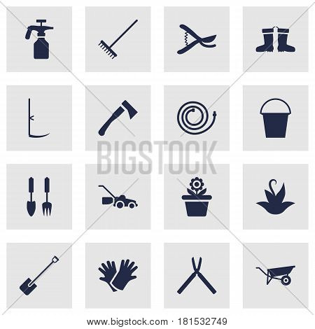 Set Of 16 Horticulture Icons Set.Collection Of Rubber Boots, Garden Hose, Bucket And Other Elements.