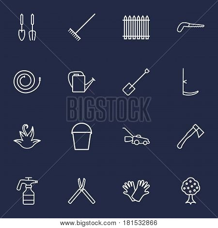 Set Of 16 Horticulture Outline Icons Set.Collection Of Atomizer, Harrow, Garden And Other Elements.