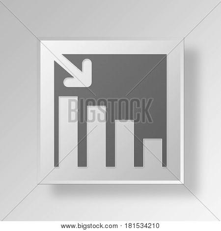 3D Symbol Gray Square Decreasing Stats icon Business Concept
