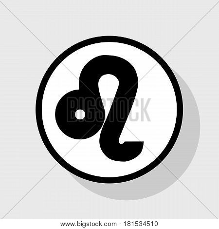 Leo sign illustration. Vector. Flat black icon in white circle with shadow at gray background.