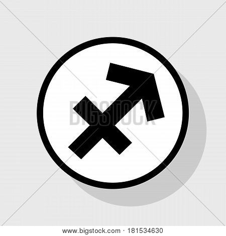 Sagittarius sign illustration. Vector. Flat black icon in white circle with shadow at gray background.