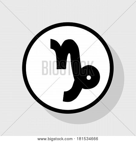 Capricorn sign illustration. Vector. Flat black icon in white circle with shadow at gray background.