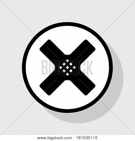 Aid sticker sign. Vector. Flat black icon in white circle with shadow at gray background.