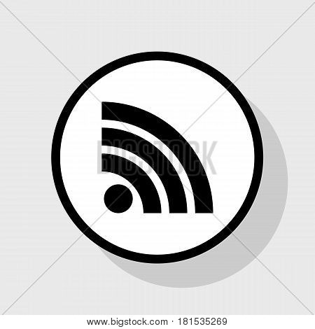 RSS sign illustration. Vector. Flat black icon in white circle with shadow at gray background.