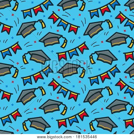 Graduation caps thrown in air seamless pattern, line art vector illustration