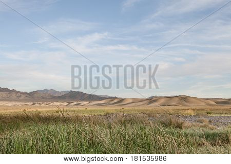 view of tecopa hot springs and mountain on the back  in Mojave desert, Nenada