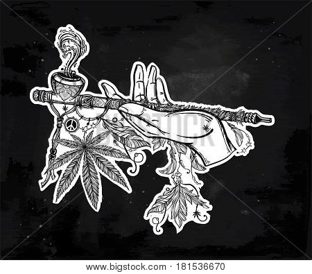 Human hand holding a cannabis smoking pipe of peace. Drug or tabacco consumption, marijuana use silhouette clip art. Concept design, Elegant tattoo artwork. Isolated vector illustration.