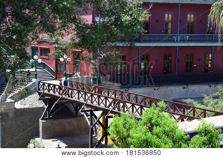 Lima, Peru February 2017 View of the Bridge of Sighs, in focus, in Barranco a district in the south of the city