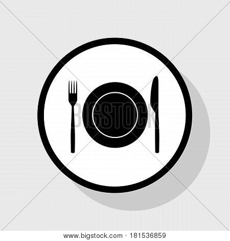 Fork, Knife and Plate sign. Vector. Flat black icon in white circle with shadow at gray background.