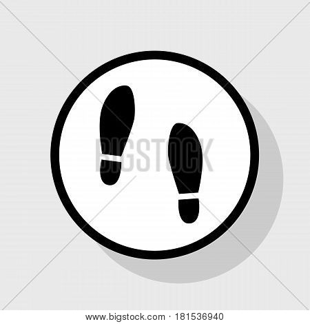 Imprint soles shoes sign. Vector. Flat black icon in white circle with shadow at gray background.